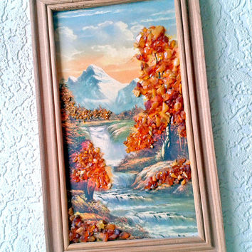 Natural Amber Crumb Small Picture Orange Wall Decor Autumn Landscape Wooden Plaque Vintage Soviet USSR 1990s