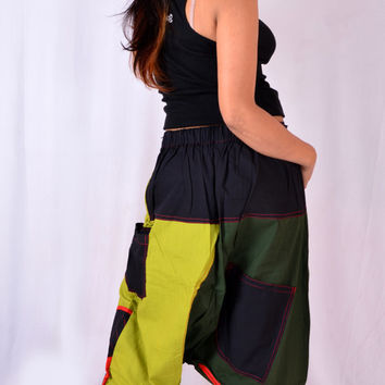 Patchwork Funky Chunky Gothic Hippy Hippie Harem Pants Trouser Baggy Genie Yoga Boho Gypsy Indian Pants S m l Xl