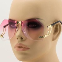 Vintage Retro Rimless Upside Down Butterfly Oceanic Lens Sunglasses for Women
