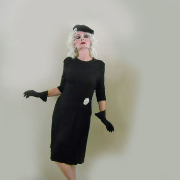 1940s Dress - Little Black Vintage Cocktail Dress - LBD for New Years