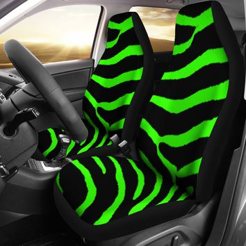 Zebra Lime Green Design Seat Covers