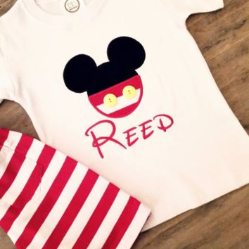 Boys Applique Mickey Mouse outfit , Mickey Mouse Disney shirt , Applique Disney shirt , Boys boutique Disney shirt , Boys Disney outfit