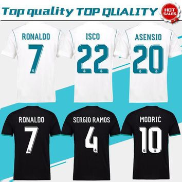 New Real Madrid Home white Soccer Jersey 17/18 CR7 Away black soccer shirt 2018 Ronaldo Bale Football uniforms Asensio Isco Kroos sales