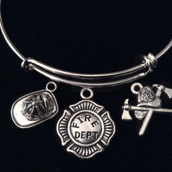 Fire Fighter Badge Helmet Expandable Charm Bracelet Silver Adjustable Wire Bangle Fireman Wife Gift