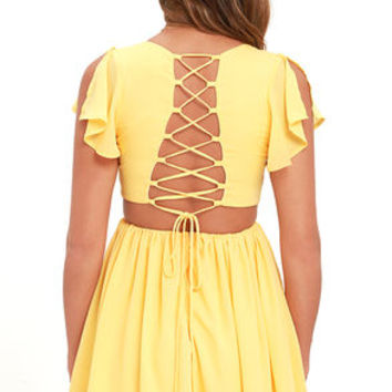 La Brea Yellow Backless Lace-Up Dress