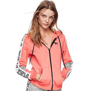 """PINK"" Victoria's Secret Letter Print Hooded Top Jacket Coat Sweatshirt"