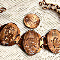 Disney Pixar Steampunk Handmade Toy Story Rex Hamm Wheezy Copper Pressed Coin Bracelet