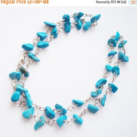 CHRISTMAS SALE Turquoise necklace blue necklace natural stones necklace strand necklace trending necklace Rustic necklace beaded necklace  f