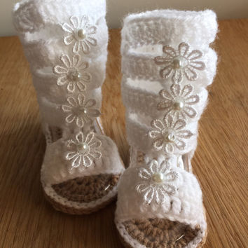 Gladiator Sandals -Crochet baby sandals -gift -Girls shoes-Girl's sandals -white sandals-Baby summer shoes-daisy sandals-baby girl