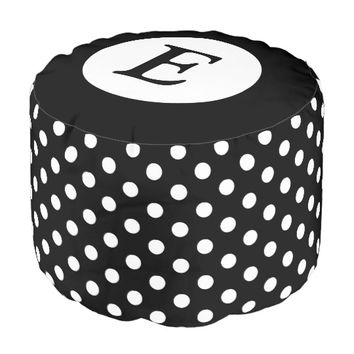 Personalized black and white polka dots pouf