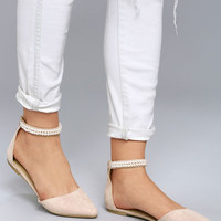 Kelby Blush Suede Ankle Strap Flats