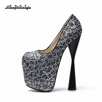 LLXF Fashion 19cm thick High-heeled Platform Shoes woman Stilett 934333754671