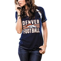 Women's Denver Broncos Majestic Navy Game Day V-Neck T-Shirt