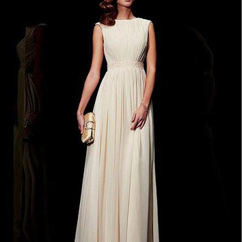Joky Quaon O-Neck Tank Shoulder Beaded Sequined Waist Beige Chiffon Elegant Bridesmaid Dress Long 2016 Robe Demoiselle D'honneur