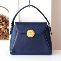 Valentino Garavani Bag Navy Tote Handbag authentic vintage purse