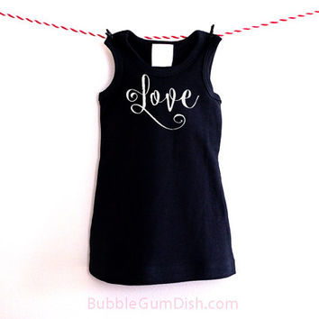 Love Dress Valentine's Day Black Dress Girl Outfit Embroidered Sleeveless Dress