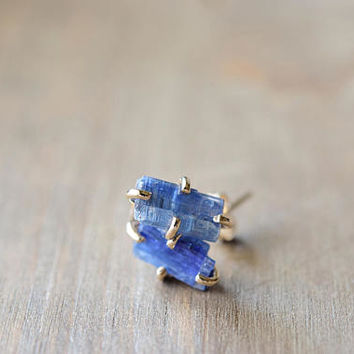 Kyanite Studs. Raw Rough Stone Earrings. Light Blue Rough Kyanite Studs. Blue Gemstones. Gold Fill Natural Kyanite Stone Studs. Simple Studs