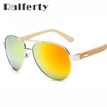 2016 Pilot Wood Sunglasses Men Women Brand Designer Mirror Sun Glasses UV400 Gold Driving Sports Original Bamboo Sunglases Male