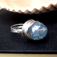 Aquamarine Blue Ring: Placid Blue Opal Fine Silver Wire Wrapped Large Bauble Statement Cocktail Jewelry, Size 6