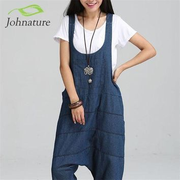 PEAPGC3 Johnature 2017 New Denim Jumpsuits Pocket Rompers Stripped Loose Plus Size  Women Fashion Casual Denim Overalls Harlan Jumpsuits