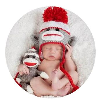 OB Monkey Handmade Crochet Children's Hat Photo Prop