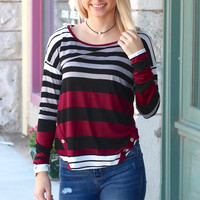 Buttons + Stripes Long Sleeve {Burgundy Mix}