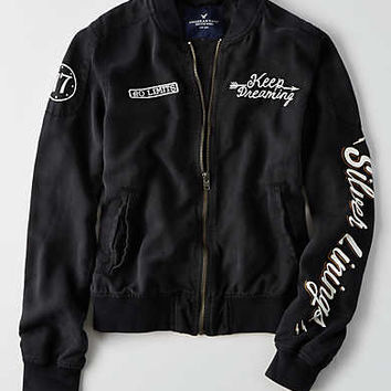 AEO Silver Linings Bomber Jacket, True Black