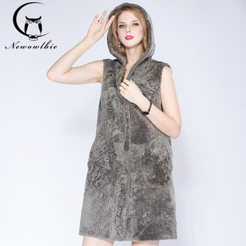 Newowlbie  Latest Winter Sheep Sheared Leather With Fur Vest Hooded Young Lady  Natural Fur Fashion Medium Style Thickened Vest