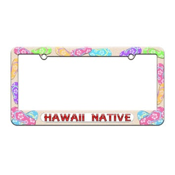 Hawaii Native - State Pride - License Plate Tag Frame - Flip Flops Sandals Design
