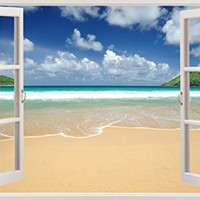 """Amazing Beach Ocean Seascape View Home Office Kitchen Kids Nursery Room Gift 3D Unique Window Depth Style Vinyl Print Removable Wall Sticker Decal Mural Size 19.6"""" x 27"""" by Bomba-Deal"""