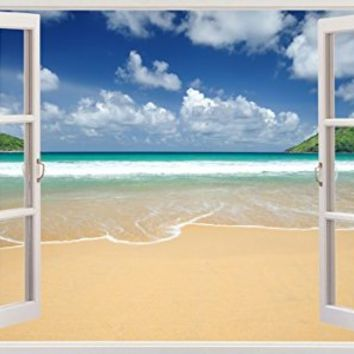 "Amazing Beach Ocean Seascape View Home Office Kitchen Kids Nursery Room Gift 3D Unique Window Depth Style Vinyl Print Removable Wall Sticker Decal Mural Size 19.6"" x 27"" by Bomba-Deal"
