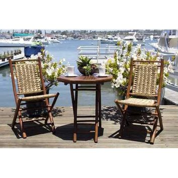 3-Piece Indoor/Outdoor Bistro Set - Bamboo In Brown Bamboo, Natural Water Hyacinth