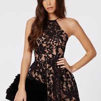 Missguided - Irinah Lace Organza Skater Dress Black