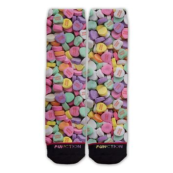 Function - Valentine's Day Candy Heart Send Nudes Pattern Sock