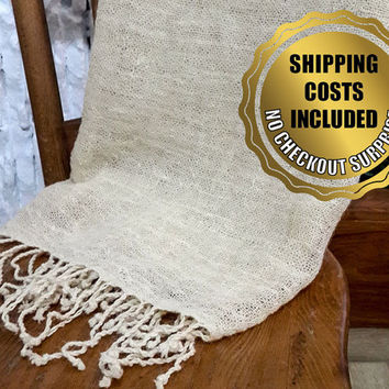 100% Wool Beige-Ivory Blanket/Curtain for Scandinavian Style Decor // Traditionally Hand Woven Naturel Throw Bohemian Decor