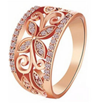 Crystal Four Clover Flower Wedding Ring For Women  Rose Gold Hollow Alloy Rings Everlasting Quality Promise Love Gift For Her
