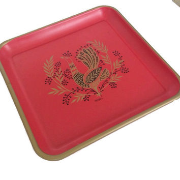 Vintage 60's Maxey Tray Red and Gold Peacock Square Tin Tray Serving Tray Mid Century Metal Tray Red Bird Tray