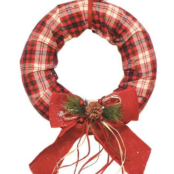 "16"" Decorative Red  White and Green Plaid Christmas Wreath with Burlap Bow and Pine Accents - Unlit"