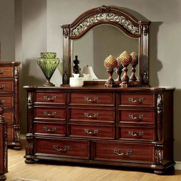 Top-Notch Traditional Style Wooden Dresser, Brown Cherry