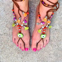 SALE-------GYPSY  SANDALS - Bohemian footless crochet beaded sandals - Turkish evil eye sandals