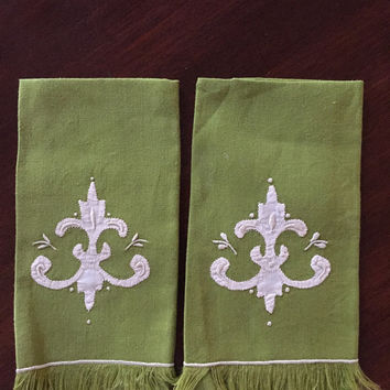 Pair Green Linen Tea Towels, Embroidered with Cream Applique Design Guest Towels, Finger Towels, Kitchen Bath Decor