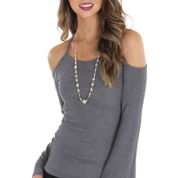 Cutout RIbbed Top Grey