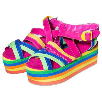 RAINBOW STEPPIN PLATFORM STRAPPY WEDGES
