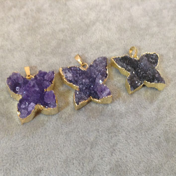 Medium Gold Plated Amethyst Butterfly Pendant - You Pick!