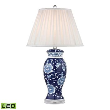 Hand Painted Ceramic LED Table Lamp In Blue And White With Acrylic Base Blue,White