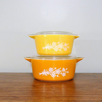 Set of Two Vintage Pyrex Butterfly Gold Casserole Dishes