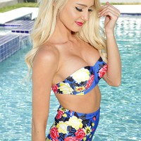 Royal Blue Floral Print High Waist Swimsuit