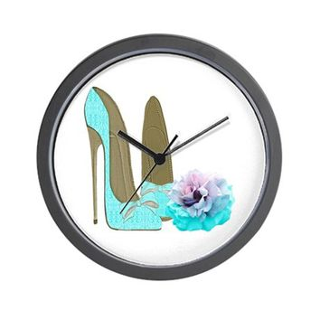 TURQUOISE LACE STILETTOS AND ROSE ART WALL CLOCK