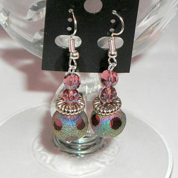 "SOPHISTICATED - Wire Wrapped Dangle Earrings, Shades of Purple beads & Iridescent Crystals, Silver Craft Wire, 1 3/4"" Drop"