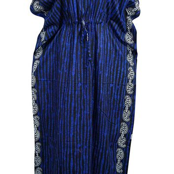 Womens Kaftan Dress Blue Printed Kimono Cotton House Dresses Onesize